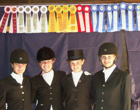 Emily Pate, Catie Wiener, Alison Coyle, and Stephanie Bristol, teamed up for the Jr. Team challenge at Dressage in the Sandhills on May 9th–11th, 2009